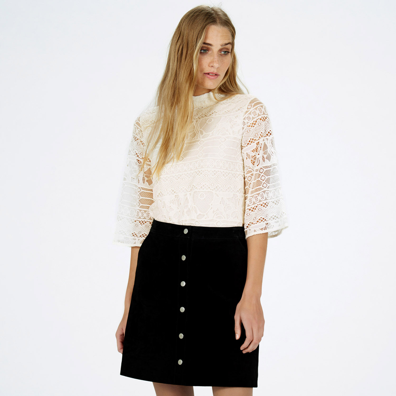 Warehouse, HIGH NECK LACE TOP Cream 1