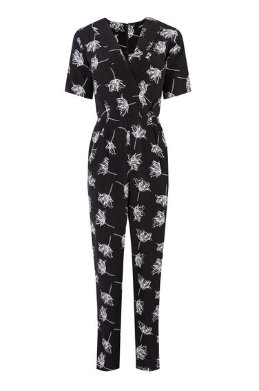 Warehouse, STENCIL FLORAL JUMPSUIT Black 0