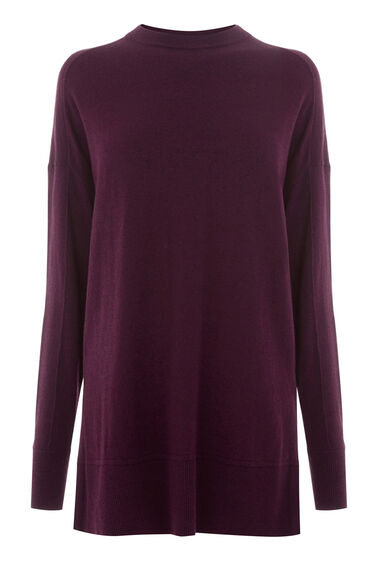 Warehouse, BOXY SPLIT SIDE CREW JUMPER Berry 0