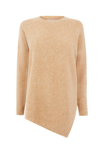 Warehouse, ASYMMETRIC RIB JUMPER Camel 0