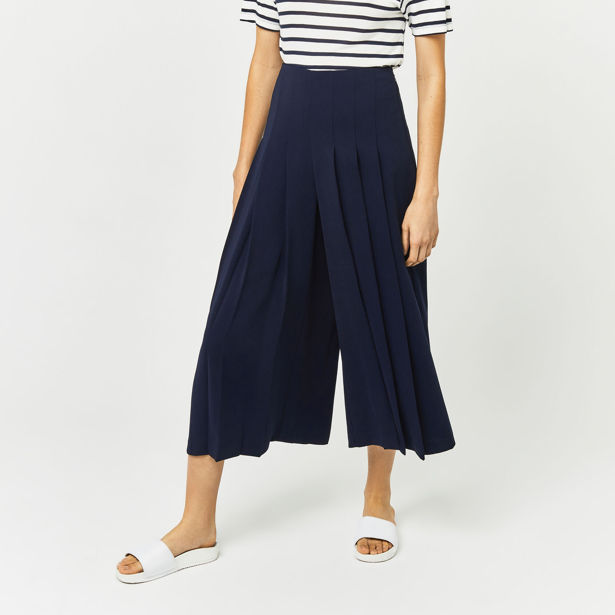 Warehouse, PLEATED CULOTTES Navy 1