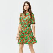 Warehouse, WOODBLOCK DAISY FLIPPY DRESS Green Print 2