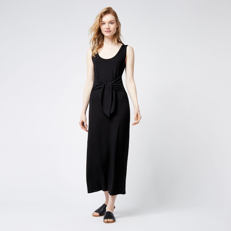 Warehouse, TIE FRONT MAXI DRESS Black 1
