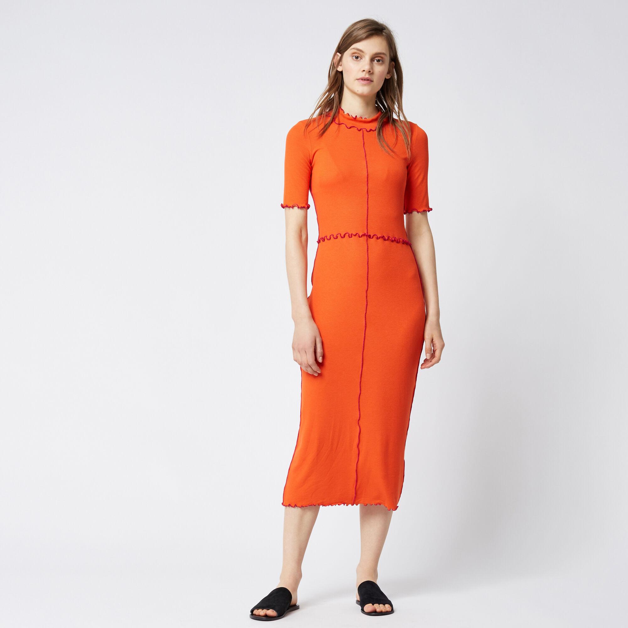 Warehouse, MINI RIB FRILL DRESS Bright Red 1