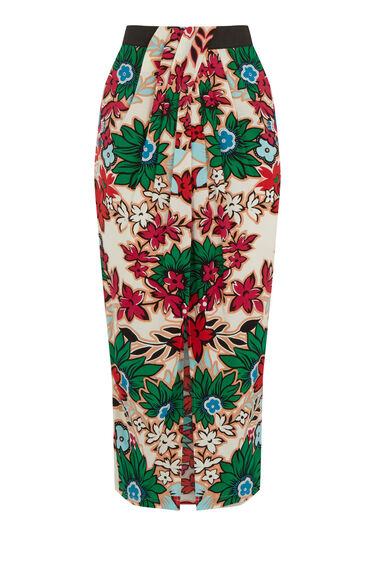 Warehouse, Floral Wrap Midi Skirt Neutral  Print 0