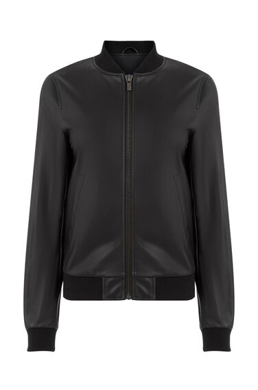 Warehouse, Faux Leather Bomber Jacket Black 0