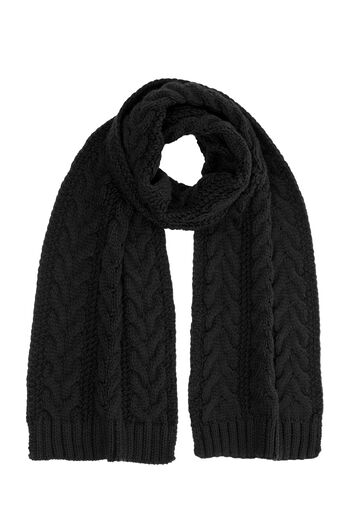 Warehouse, CABLE KNIT SCARF Black 0