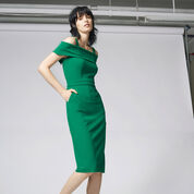 Warehouse, CREPE OFF THE SHOULDER DRESS Bright Green 1