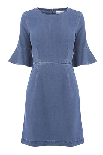 Warehouse, Fit and Flare Dress Mid Wash Denim 0