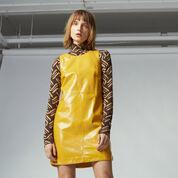 Warehouse, Patent Leather Shift Dress Mustard 1