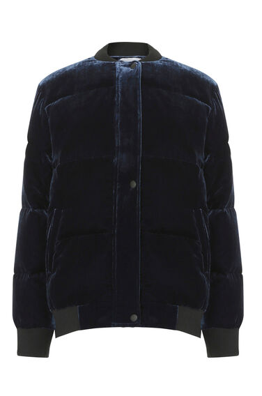 Warehouse, Velvet Padded Bomber Jacket Navy 0