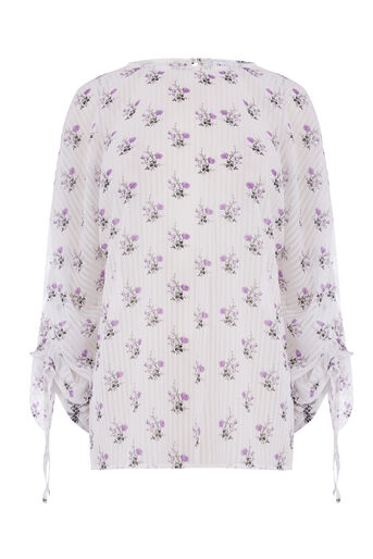 Warehouse, LILAC BUNCH RUCHED TOP Neutral  Print 0