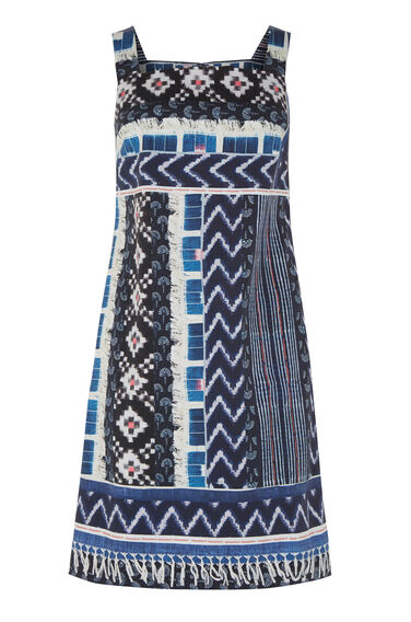Warehouse, PATCHWORK PRINT SHIFT DRESS Navy 0