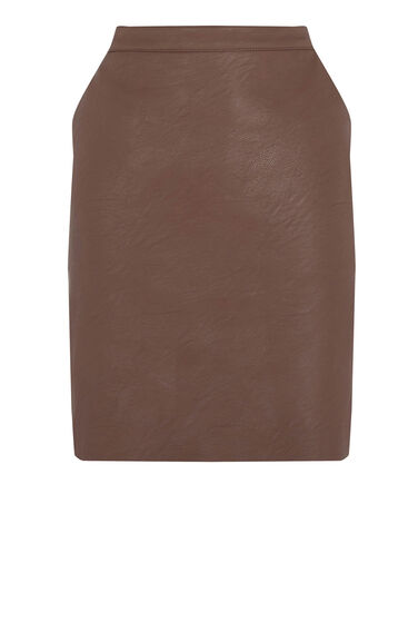 Warehouse, Faux Leather Clean Skirt Tan 0