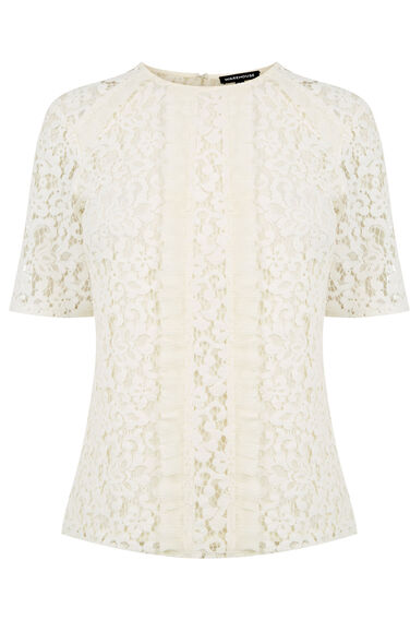 Warehouse, PANELLED LACE TOP Cream 0