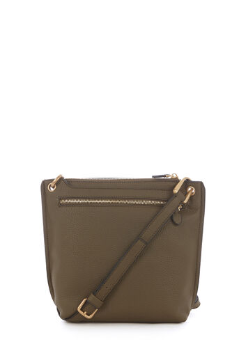 Warehouse, DOUBLE ZIP CROSS BODY BAG Khaki 0