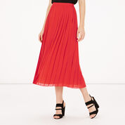 Warehouse, PLEATED SKIRT Bright Red 1