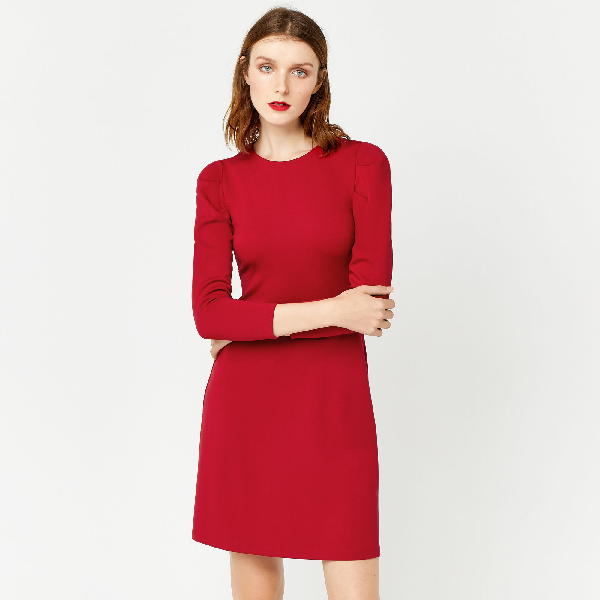 Warehouse, PUFF SLEEVE PONTE DRESS Bright Red 1