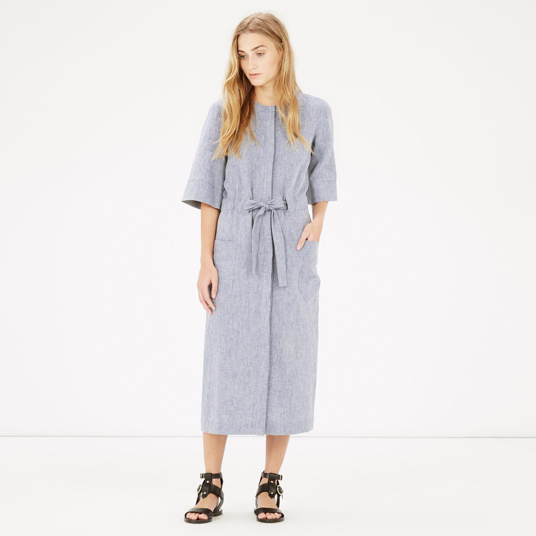 Warehouse, Linen Mix Belted Dress Light Blue 1