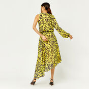 Warehouse, KYOTO FLORAL ONE SLEEVE DRESS Yellow 3