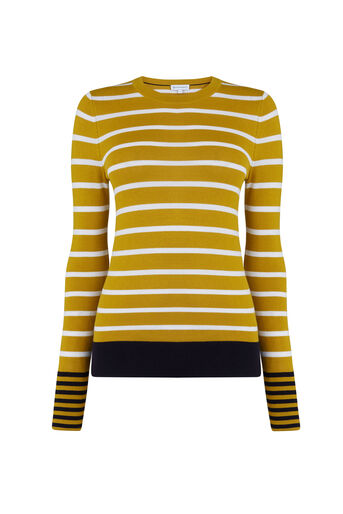 Warehouse, COLOURBLOCK STRIPE JUMPER Mustard 0