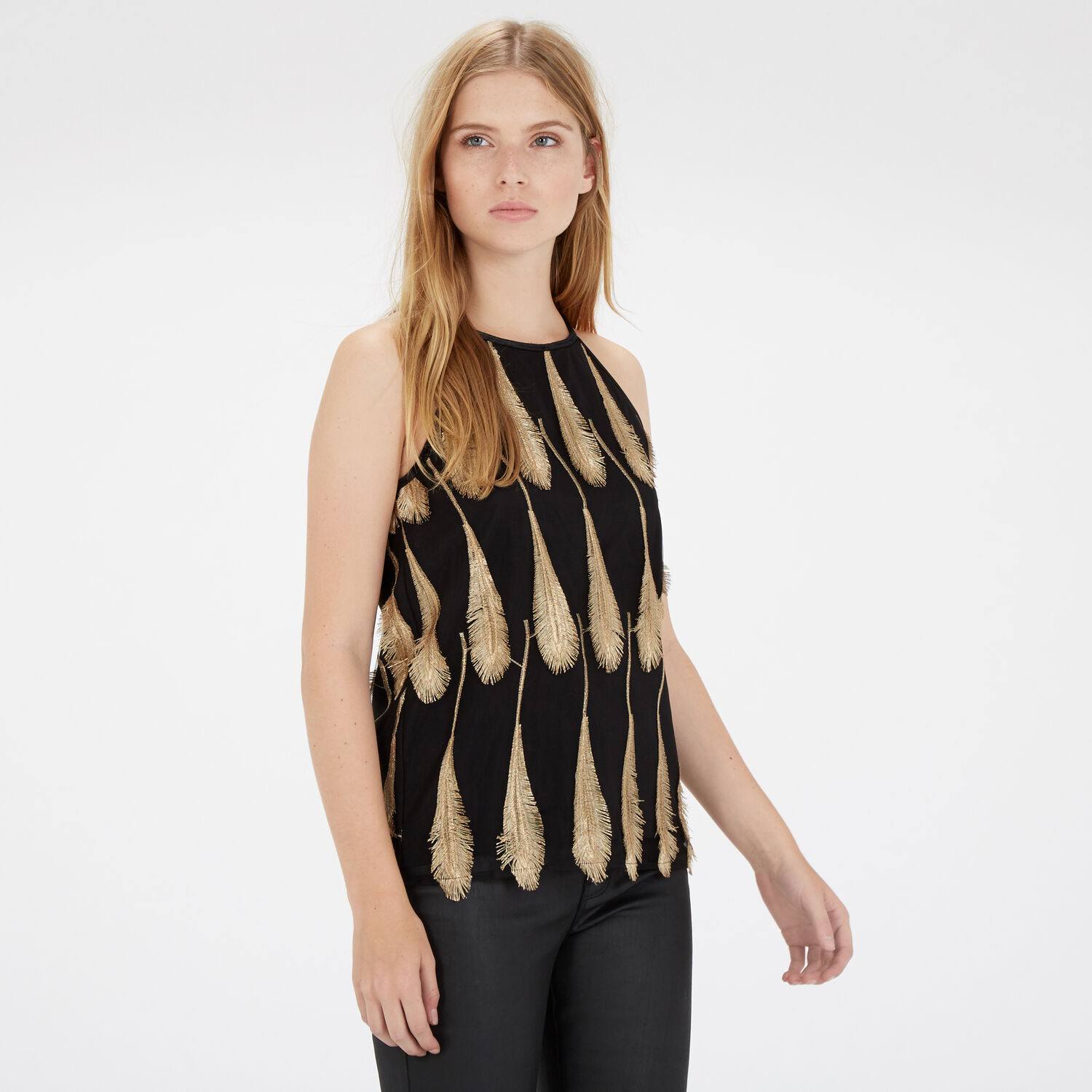 Warehouse, Feather Jacquard Top Gold Colour 1