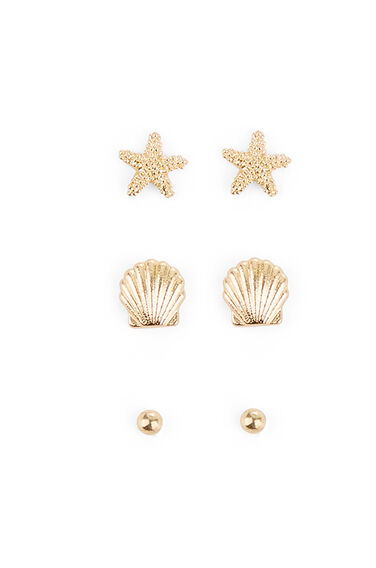 Warehouse, SHELL TRIPLE EARRING PACK Gold Colour 0