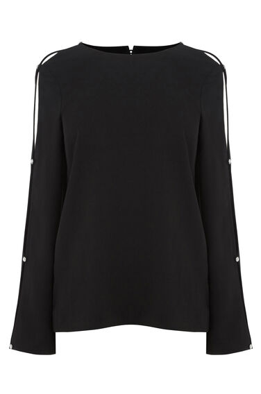Warehouse, DIAMANTE BUTTON SLEEVE TOP Black 0