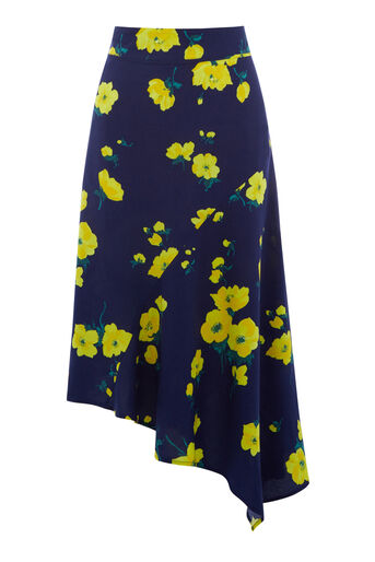 Warehouse, DELIA FLORAL MIDI SKIRT Blue Pattern 0