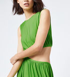 Warehouse, SLINKY CUT OUT MIDI DRESS Bright Green 1
