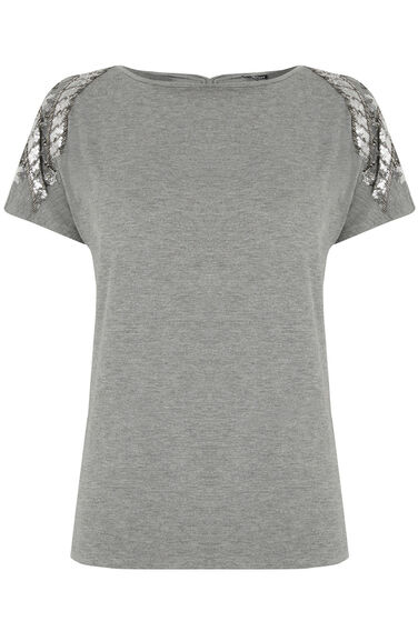 Warehouse, EMBELLISHED TEE Light Grey 0