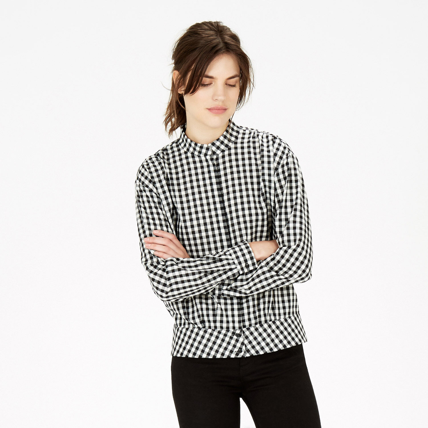 Warehouse, Gingham Blouson Blouse Black Pattern 1
