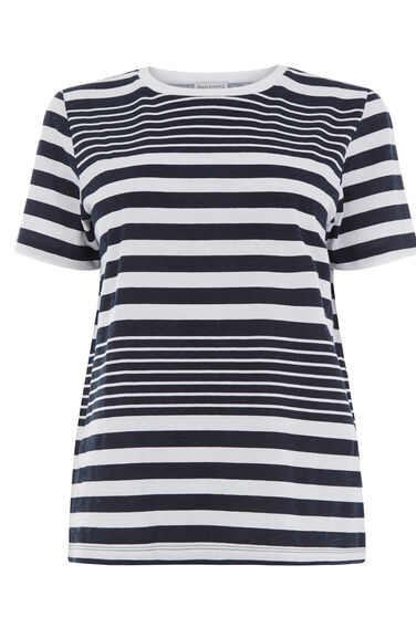 Warehouse, STRIPE SLUB CREW TEE Blue Stripe 0