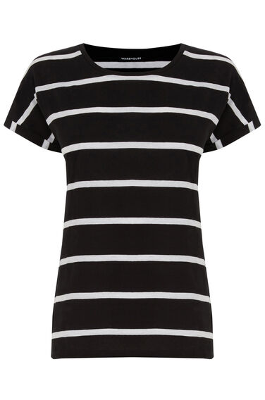 Warehouse, Block Stripe Tee Black Stripe 0