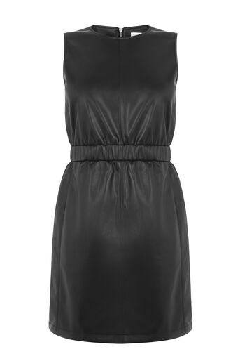 Warehouse, RUCHED FAUX LEATHER DRESS Black 0