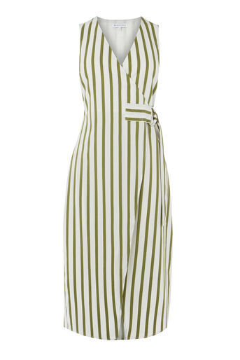 Warehouse, STRIPE WRAP DRESS Green Stripe 0