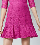 Warehouse, LACE PEPLUM SLEEVE DRESS Light Pink 4