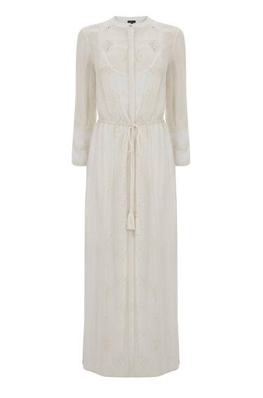 Warehouse, EMBROIDERED SHIRT DRESS White 0
