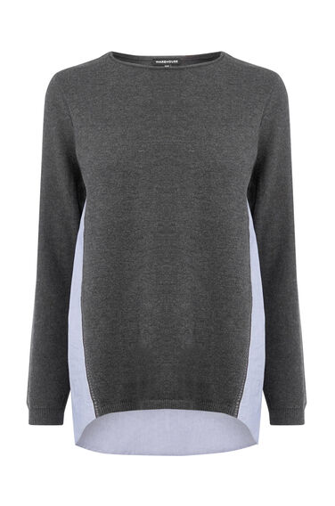 Warehouse, COTTON MIX HYBRID JUMPER Dark Grey 0
