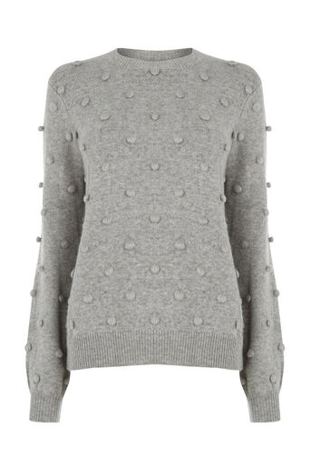 Warehouse, POM POM JUMPER Light Grey 0