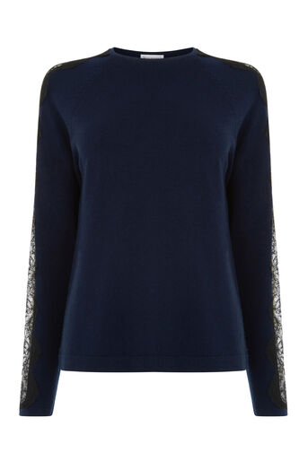 Warehouse, LACE SLEEVE JUMPER Navy 0