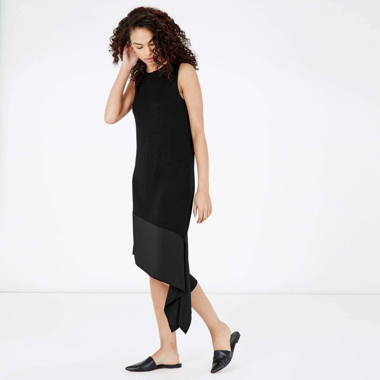 Warehouse, ASYMMETRIC WOVEN HEM DRESS Black 1