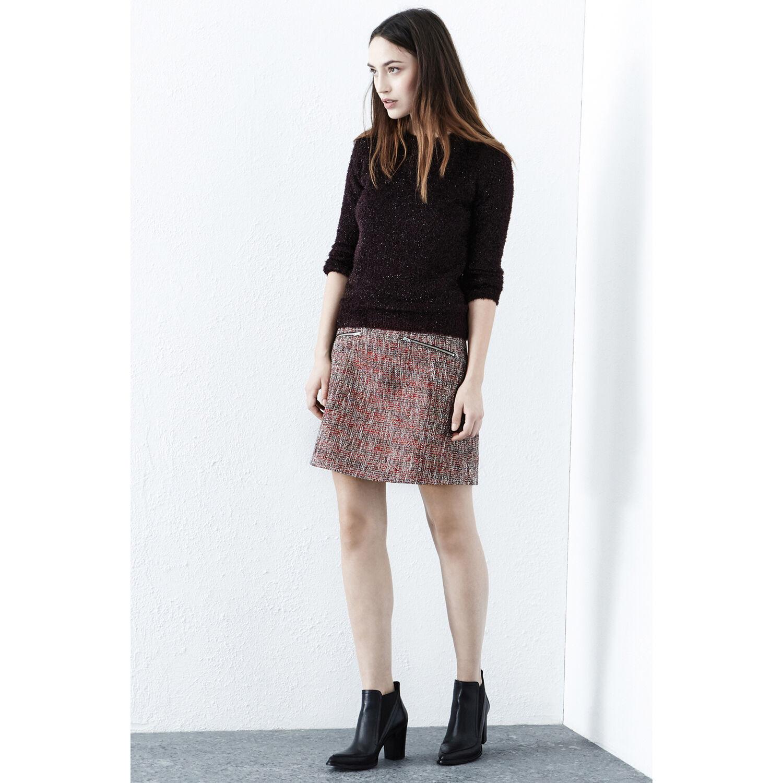 Warehouse, Sparkle Tweed Pelmet Skirt Red Pattern 1