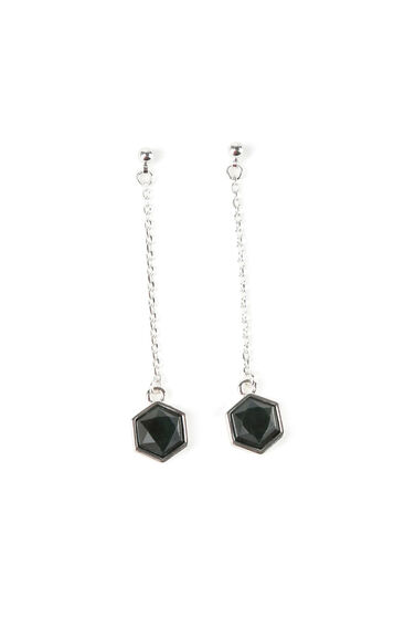 Warehouse, SEMI PRECIOUS HEXAGON EARRINGS Silver Colour 0