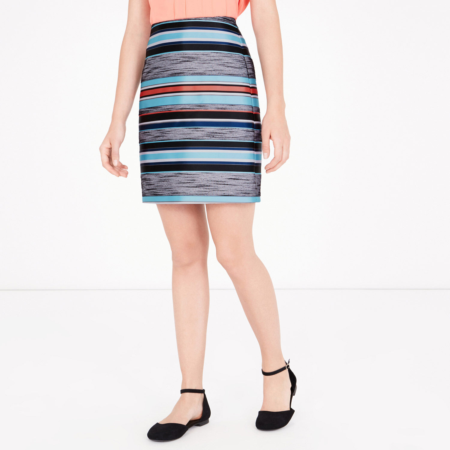 Warehouse, STRIPE JACQUARD SKIRT Multi 1