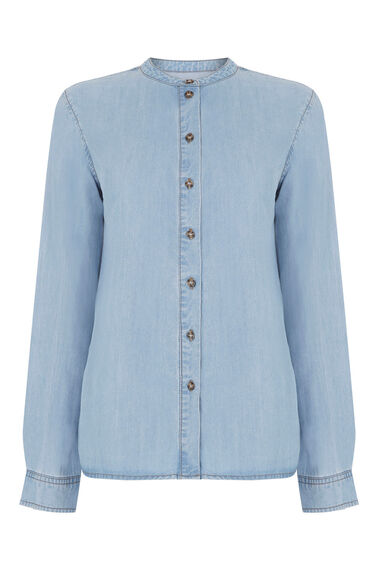Warehouse, Oversized Denim Shirt Light Wash Denim 0