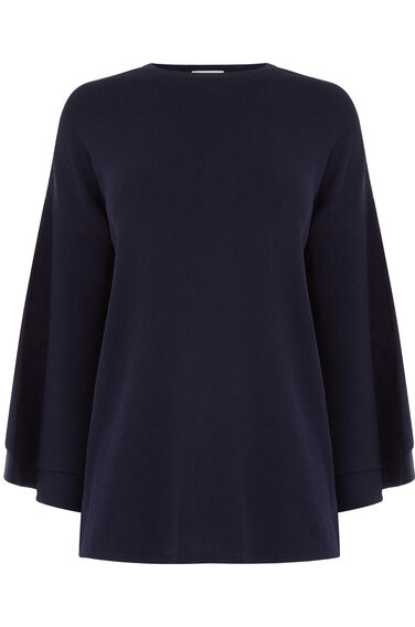 Warehouse, FLUTED SLEEVE JUMPER Navy 0