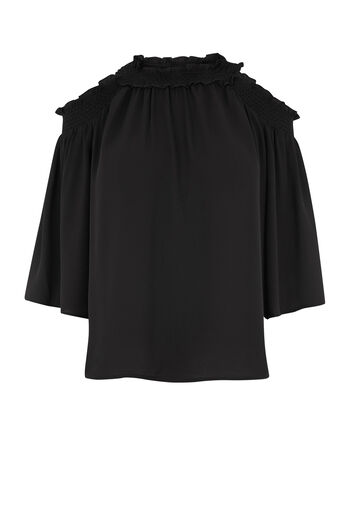 Warehouse, SMOCKED COLD SHOULDER TOP Black 0