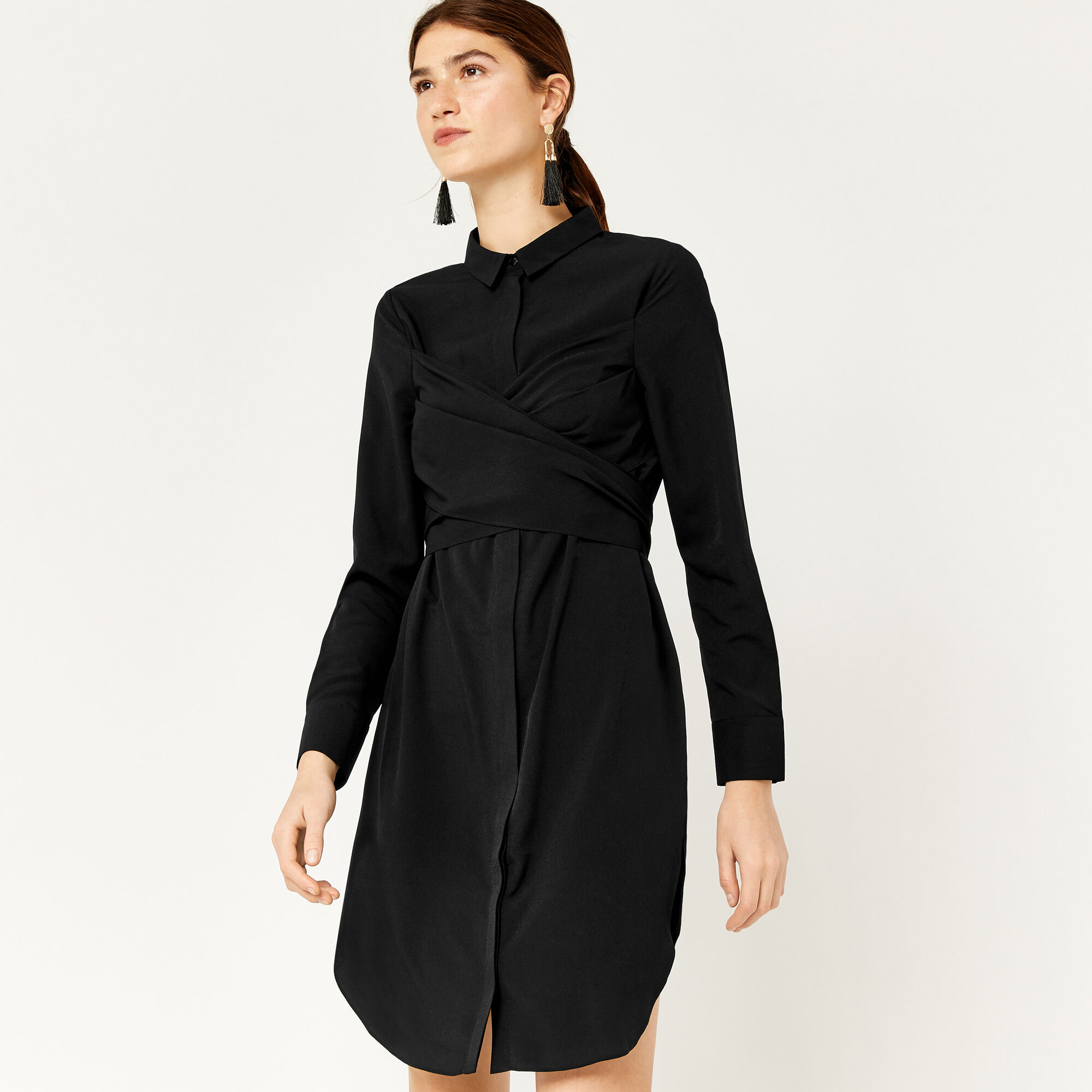 Warehouse, WRAP FRONT SHIRT DRESS Black 1