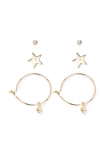 Warehouse, STAR HOOP AND STUD EARRING 3PK Gold Colour 0